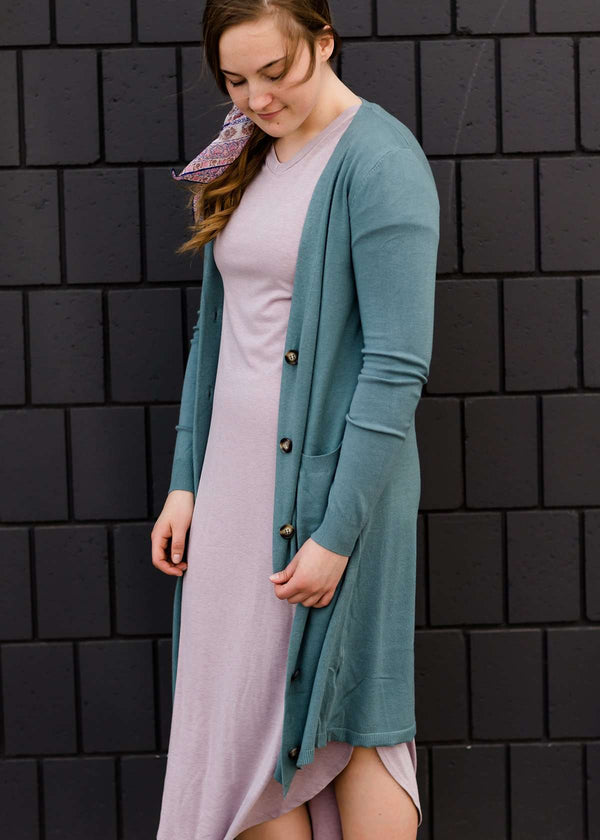 Modest lavender cotton maxi dress