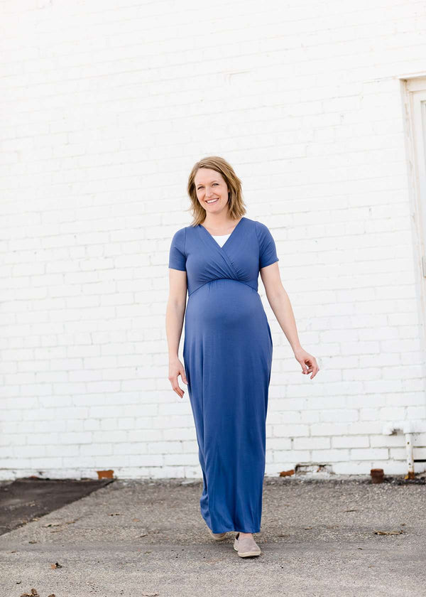 modest blue maxi dress with pockets maternity