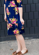 Navy and floral modest nursing friendly mid dress