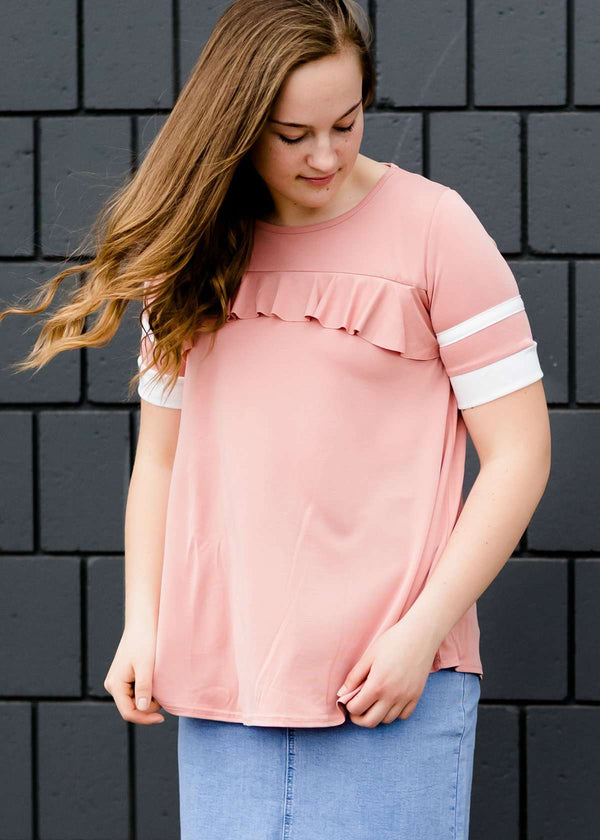 Inherit Co.  | Modest Women's Tops | Varsity Sleeve Flowy Modest Top-FINAL SALE | Modest women's blush ruffle and stripe pink nursing friendly top