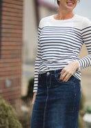 Long Sleeve Classic Navy Stripe Crew Neck Top - FINAL SALE