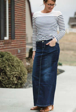 Inherit Co.  | Clearance | Randi Dark Wash Long Denim Skirt - Final Sale |