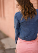 Button Front Tie Washed Denim Top - FINAL SALE