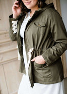 olive green hooded cargo jacket with lace up detail
