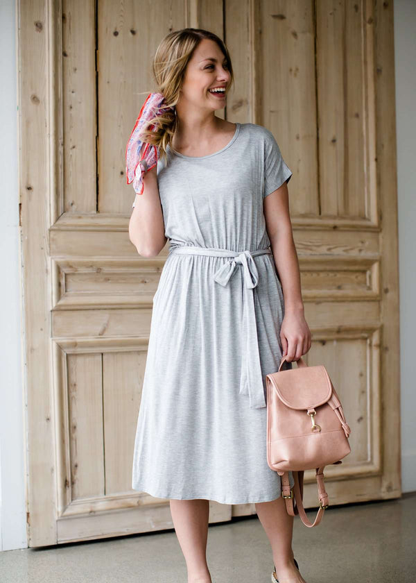 gray waist tie midi dress