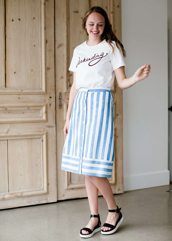 Inherit Co.  | Modest Women's Skirts | Nautical Stripe Button Front Midi Skirt - FINAL SALE | striped blue and white midi skirt