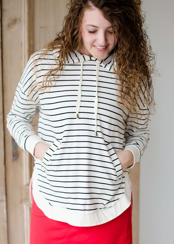 modest women's dakota striped hooded pullover sweater with kangaroo pocket