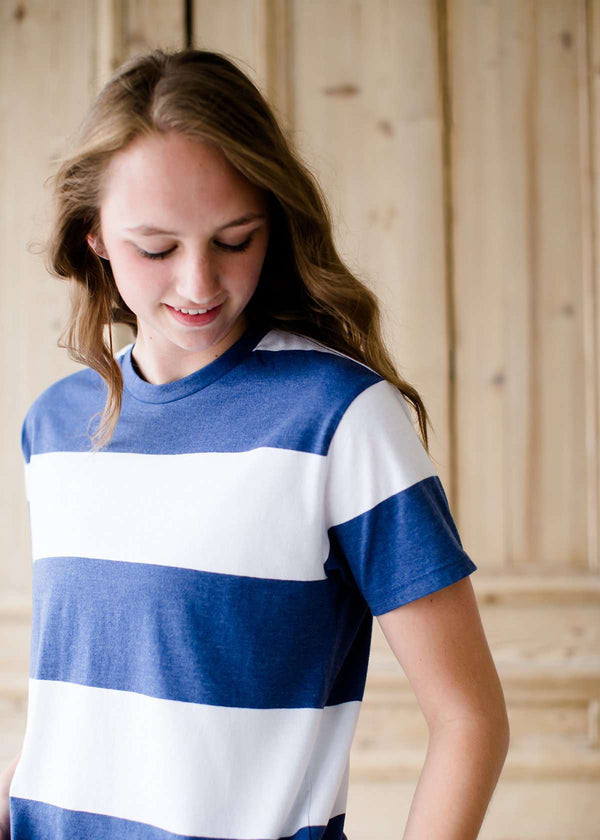 blue and white stripe z supply tee