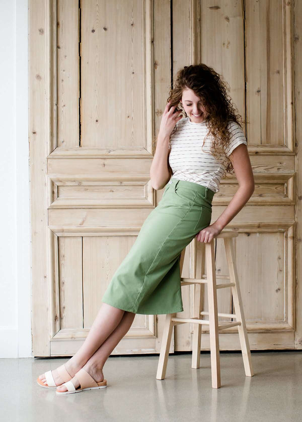 Inherit Co.  | Modest Women's Skirts | Remi Sage Midi Skirt | Modest women's below the knee sage colored denim midi skirt