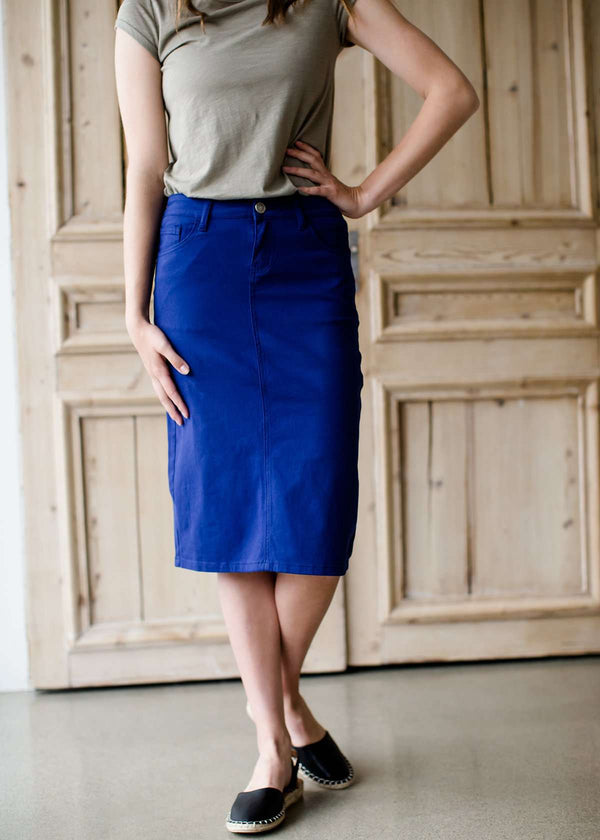 women's modest cobalt blue below the knee denim jean skirt