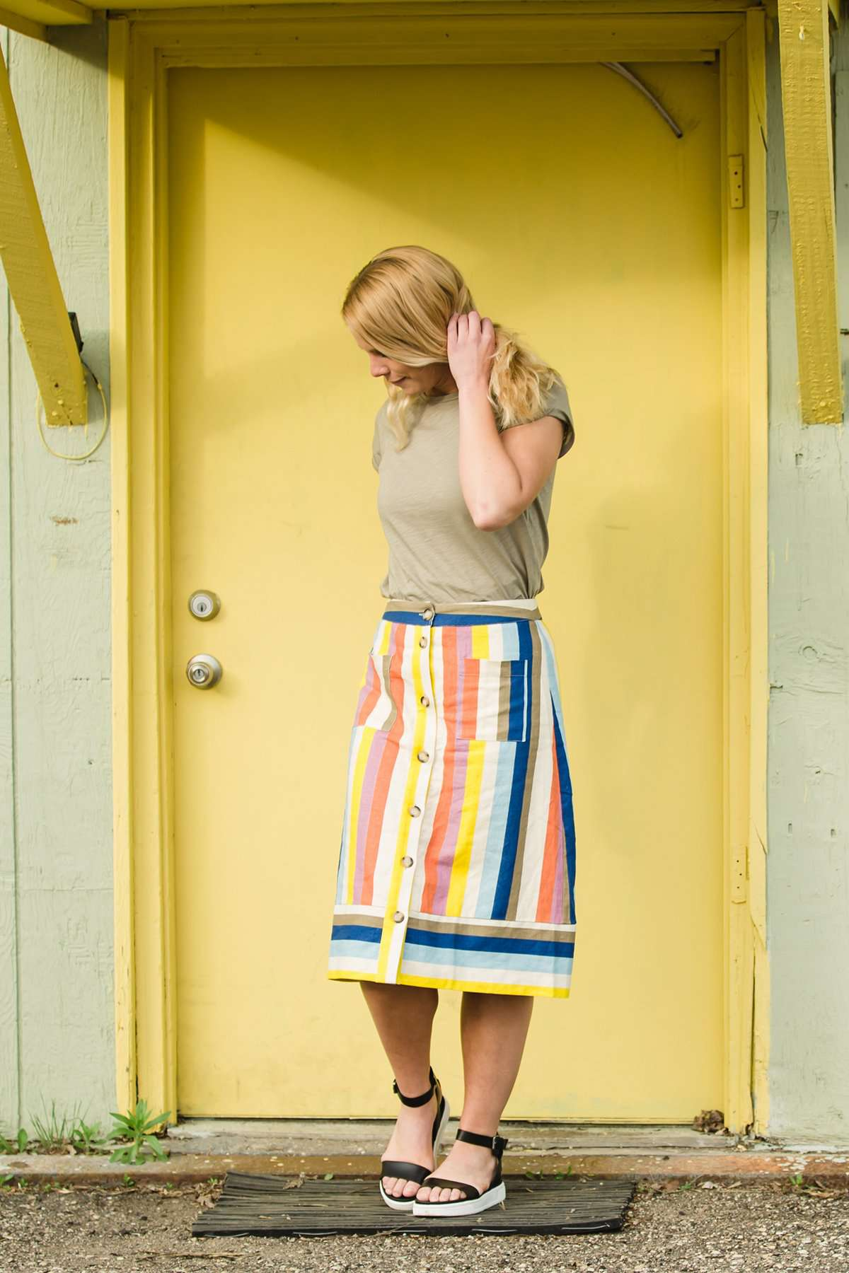 Multi colored flowy below the knee striped knit skirt
