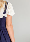Sleeveless Navy Pleated Detailed Midi Jumper Dress - FINAL SALE