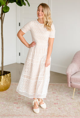 Inherit Co.  | Women's Modest Dresses | Blush Ethereal Embroidered Midi Dress |