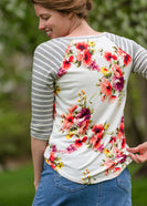 Buttery Soft Floral and Stripe Raglan Top