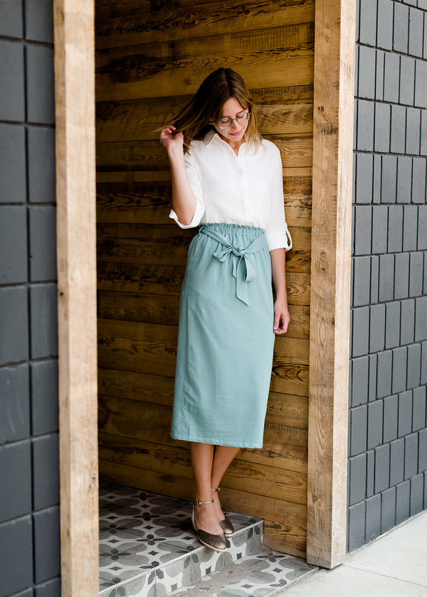 midi knit pencil paper bag skirt