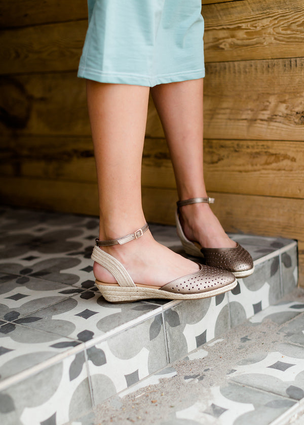 Inherit Co.  | Shoes | Norina Espadrille Sandal - FINAL SALE | taupe and mink leather espadrille ankle wrap sandal