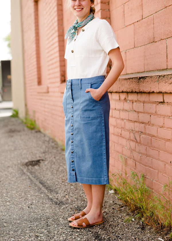 Cassidy Button Front Midi Skirt