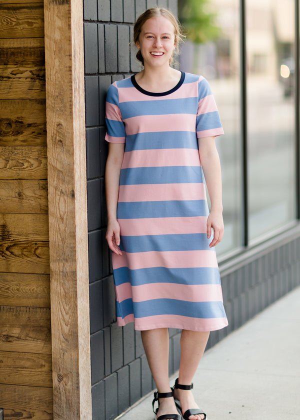 Inherit Co.  | Bold Stripe Long T-Shirt Midi Dress - FINAL SALE