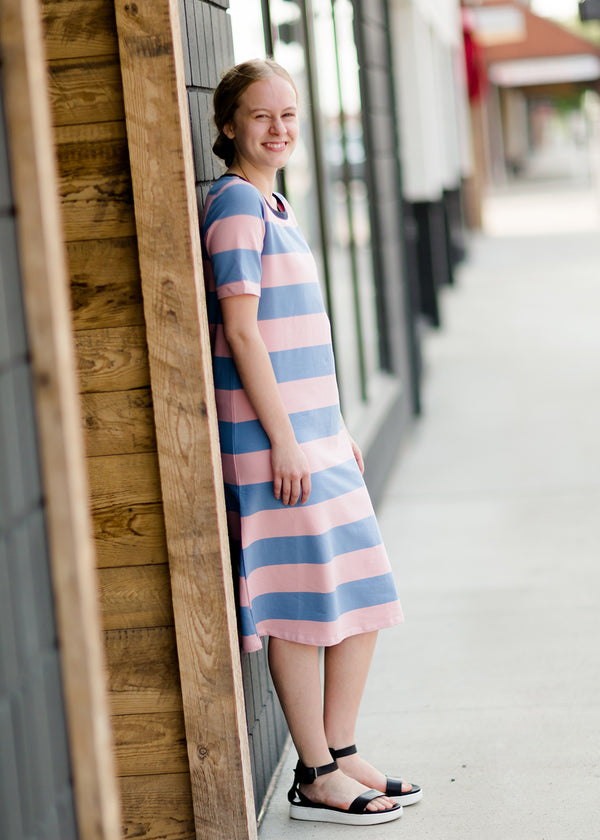 Bold Stripe Long T-Shirt Midi Dress
