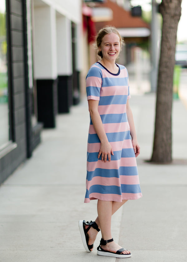 Below the knee striped t-shirt dress