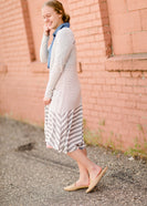 light weight gray striped long duster cardigan