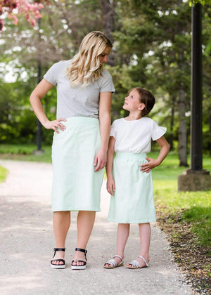 Joey Mint Stretch Waist Girls Midi Skirt - FINAL SALE