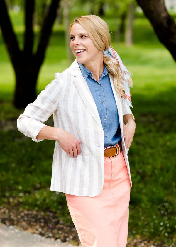 Inherit Co.  | Winter Clearance | Vertical Striped Blazer Jacket - FINAL SALE | taupe and white striped women's blazer