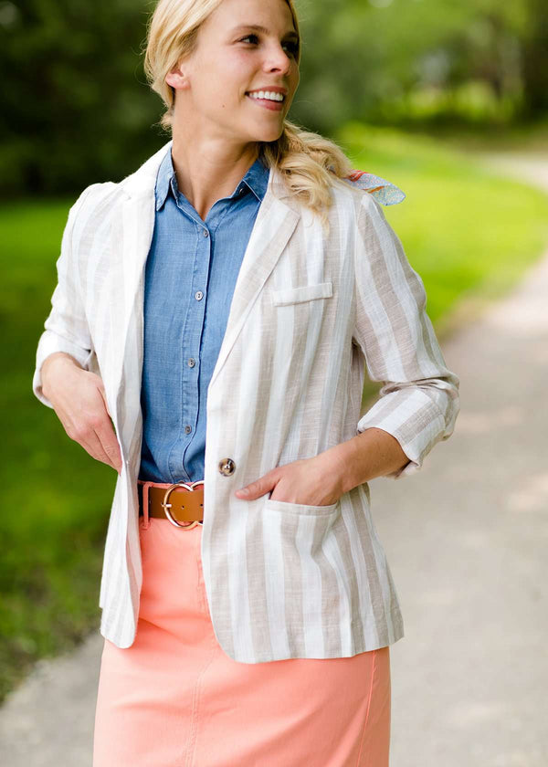 Inherit Co.  | Modest Women's Tops | Vertical Striped Blazer Jacket - FINAL SALE | taupe and white striped women's blazer