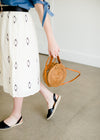 rattan round cross body bag