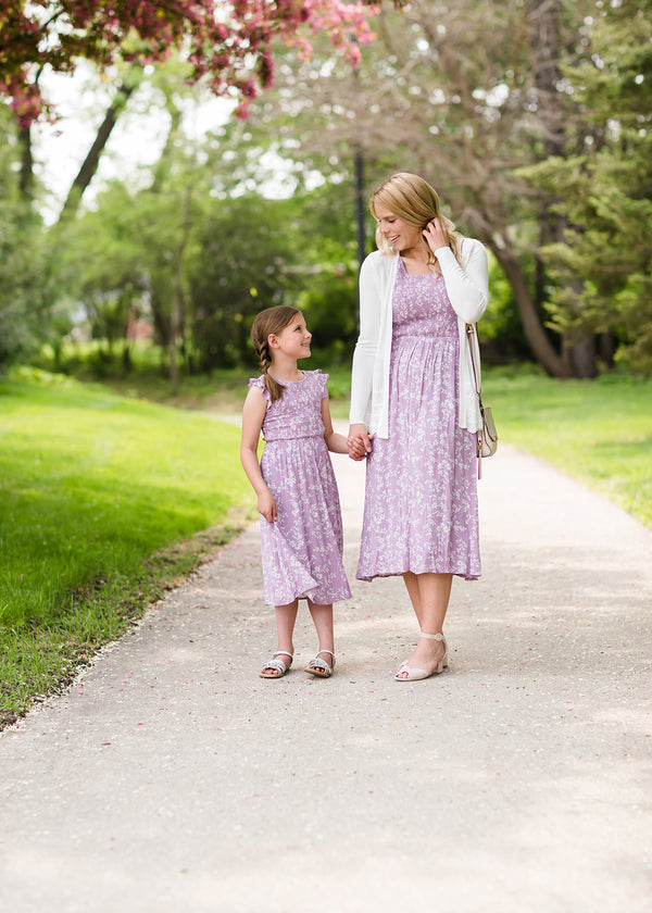 little girls mommy and me style lavender sleeves summer midi dress