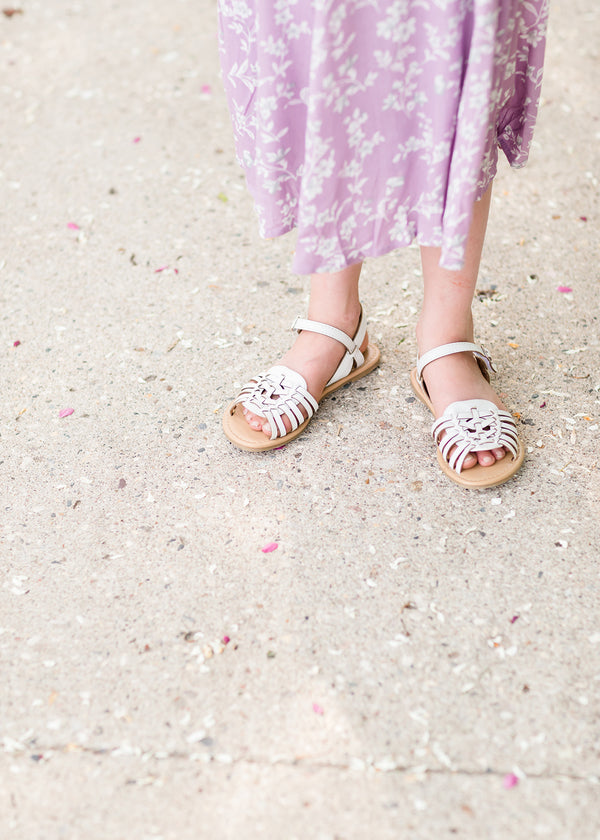 Inherit Co.  | Modest Clothing on Sale | Girls White Detail Dress Sandal - FINAL SALE | young girls white ankle strap sandal