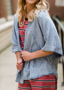 washed dolman style chambray jacket