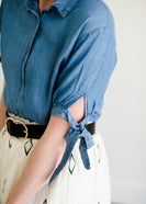 Button up chambray style tie sleeve blouse