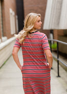 women's mauve midi dress with black and white stripes and side pockets