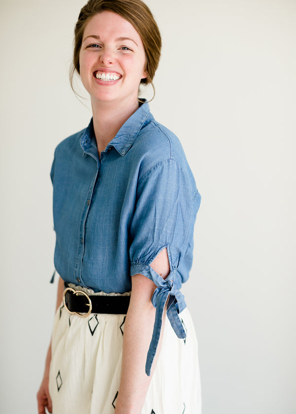 Inherit Co.  | Modest Women's Tops | Tie Sleeve Button Up Blouse - FINAL SALE | Button up chambray style tie sleeve blouse