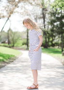 navy and white striped modest girls midi dress