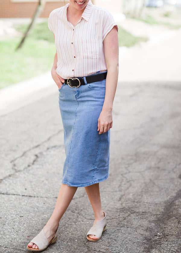 Inherit Co.  | Remi Light Denim Midi Skirt | light denim modest midi skirt