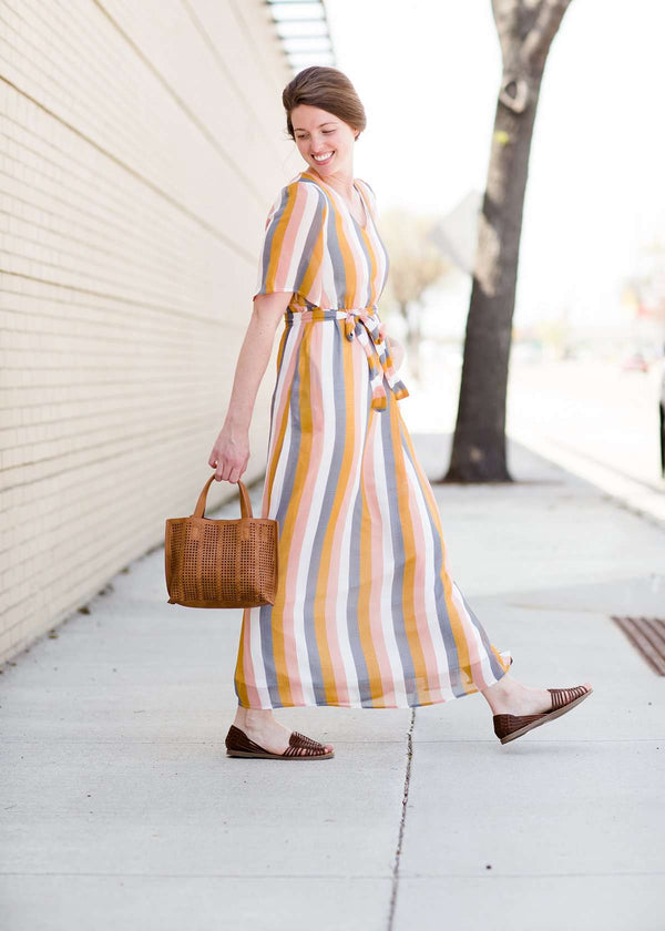 women's modest multi stripe blush, yellow, blue and white stripe maxi dress