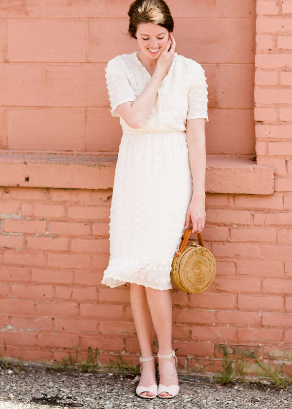 pom pom textured white modest midi dress