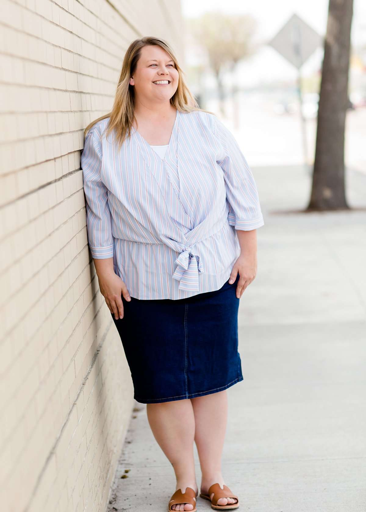 blue and white stripe plus size peplum shirt