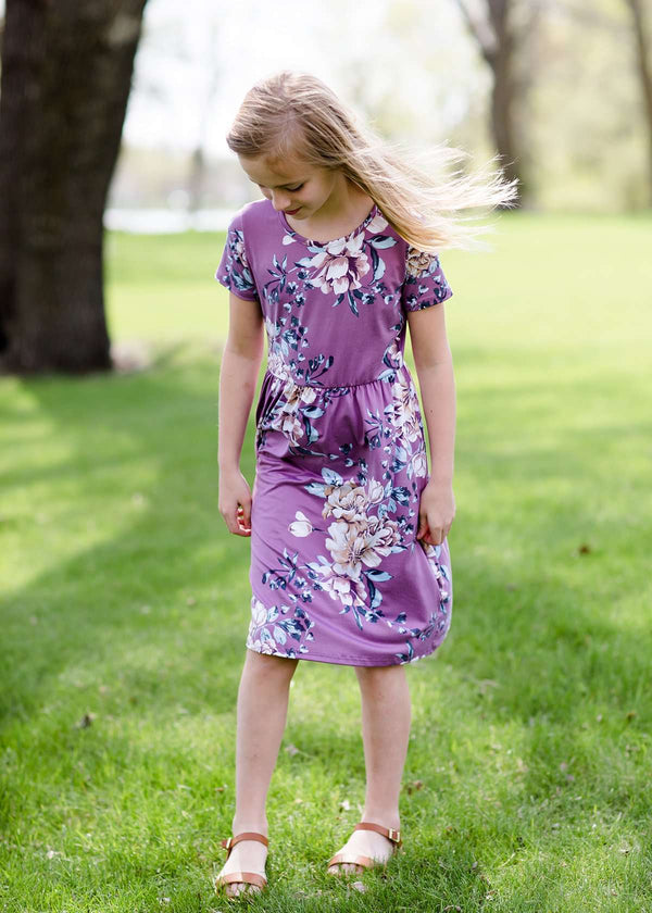 Inherit Co.  | Girls Modest Clothing | Bouquet Floral Midi Dress | girls purple floral midi dress