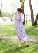 Lavender floral smocked midi dress that comes in mommy and me too
