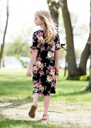 girls black and floral modest midi dress