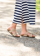 Double Buckle Taupe Slide Sandals - FINAL SALE