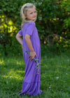 Purple High Waist Ruffle Hem Maxi Dress