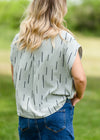 Linen Line Print Short Sleeve Top - FINAL SALE
