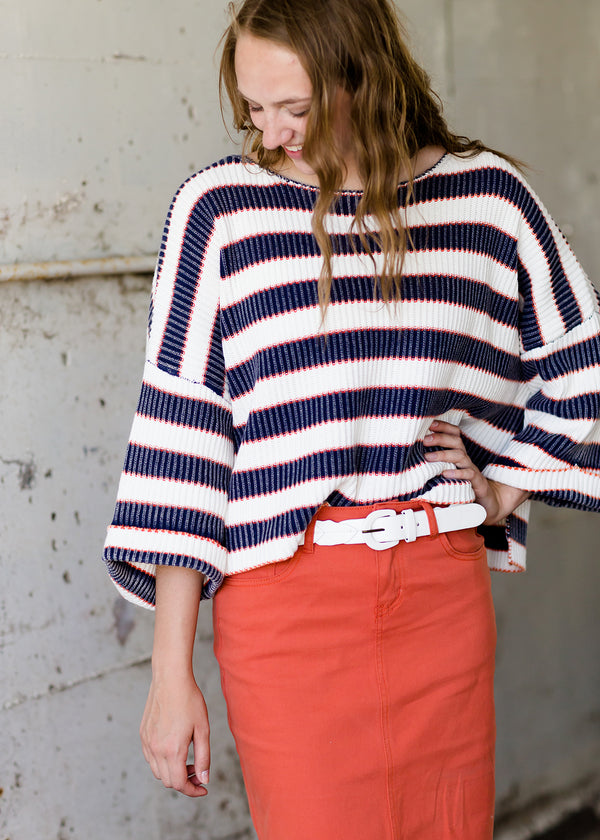 trendy navy, orange and ivory striped oversized boxy sweater
