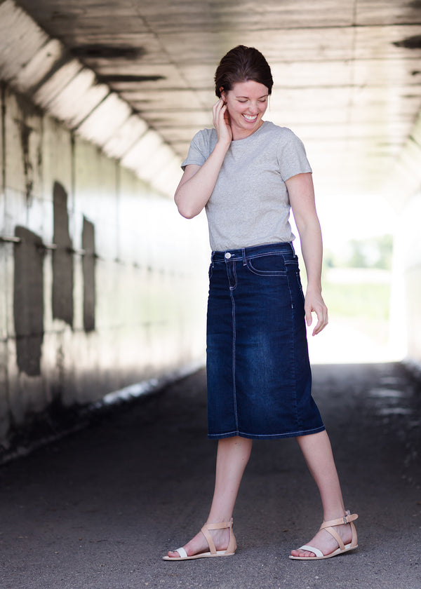 Inherit Co.  | Inherit Originals | Carly Midi Skirt | Dark blue denim midi skirt with a straight, below the knee fit and a 4 inch back slit.
