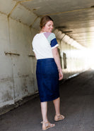 Inherit Co.  | Modest Plus Size Clothing | Straight Fit Dark Denim Midi Skirt | Women's Dark Denim Junee Skirt No Slit