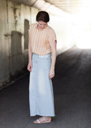 Inherit Co.  | Hailee Long Denim Skirt | Women's long light wash modest denim-jean skirt with lace pockets
